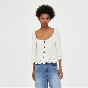 Nwt Zara White Eyelet Lace Button Crop Top